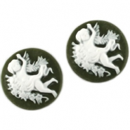 Round cameo Army green / white