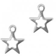 Stainless steel charm open star Silver