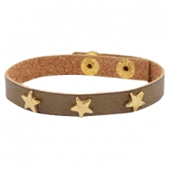 Bracelets gold star with studs Olive brown