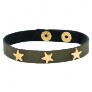 Bracelets gold star with studs Dark moss green