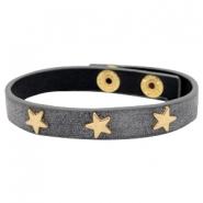 Bracelets gold star with studs Antique anthracite grey