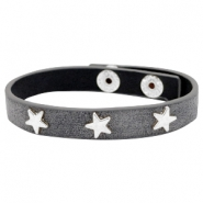 Bracelets silver star with studs Antique anthracite grey