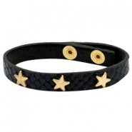 Bracelets reptile with studs gold star Black