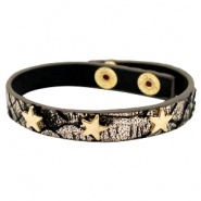 Bracelets reptile with studs gold star Metallic black gold