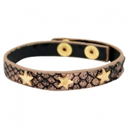 Bracelets reptile with studs gold star Metallic black rose gold
