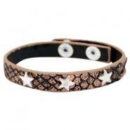 Bracelets reptile with studs silver star Metallic black rose gold