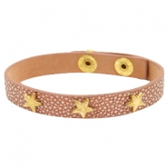 Bracelets reptile with studs gold star Metallic brown rose gold