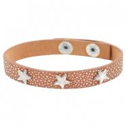 Bracelets reptile with studs silver star Metallic brown rose gold