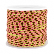Trendy weaved cord brown-rose-neon yellow