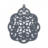 Wooden pendant barok drop 58x48 mm Anthracite grey