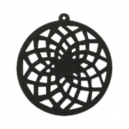 Wooden pendant dream catcher with ring 54x50 mm Black
