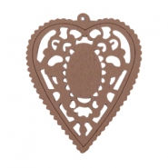 Wooden pendant heart 60x50 mm Dark taupe brown