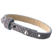 Cuoio bracelets reptile leather 8 mm for 12 mm cabochons Dark grey