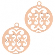 Bohemain charm round with ring 15 mm Rose gold