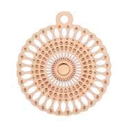 Bohemain charm round with ring 18 mm Rose gold