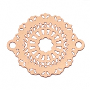 Connector round Bohemian 18 mm Rose gold