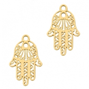 Bohemian charms hamsa hand with ring Gold