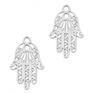Bohemian charms hamsa hand with ring Silver