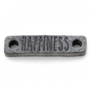 Leather DQ connector HAPPINESS anthracite black
