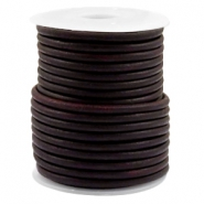Leather DQ round 3 mm Vintage port royale red