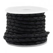 Leather DQ round braided 4 strings Vintage black