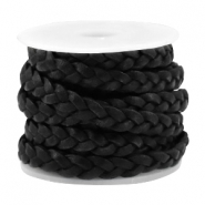 Leather DQ flat braided 5 mm Vintage black