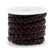 Leather DQ flat braided 5 mm Vintage port royale red