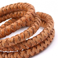 Leather DQ round 8 mm Vintage copper brown