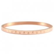 Stainless steel bracelet with flower pattern Rose gold