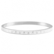 Stainless steel bracelet with flower pattern Silver