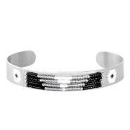 Open stainless steel bracelet with Miyuki beads Silver-Light gray