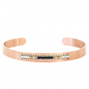Open stainless steel bracelet with Miyuki beads Rose gold-Black