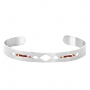 Open stainless steel bracelet with Miyuki beads Silver-Red