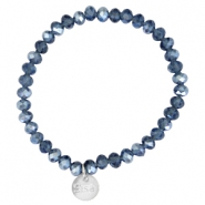 Top faceted Sisa bracelet 6x4mm (stainless steel charm) Montana blue-pearl diamond coating