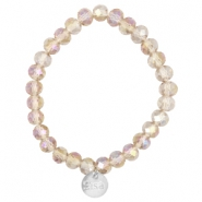 Top faceted Sisa bracelet 8x6mm (stainless steel charm) Vintage champagne rose-diamond coating
