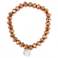 Top faceted Sisa bracelet 8x6mm (stainless steel charm) Copper gold metallic