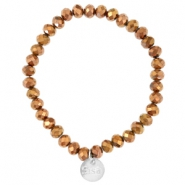Top faceted Sisa bracelet 6x4mm (stainless steel charm) Copper gold metallic