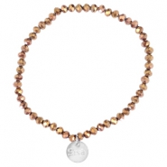 Top faceted Sisa bracelet 4x3mm (stainless steel charm) Copper gold metallic