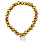 Top faceted Sisa bracelet 6x4mm (stainless steel charm) Gold metallic