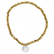 Top faceted Sisa bracelet 4x3mm (stainless steel charm) Gold metallic