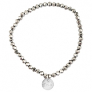 Top faceted Sisa bracelet 4x3mm (stainless steel charm) Silver shade