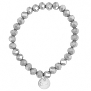 Top faceted Sisa bracelet 8x6mm (stainless steel charm) Grey opaque-pearl diamond coating