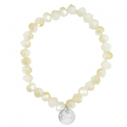 Top faceted Sisa bracelet 8x6mm (stainless steel charm) White alabaster-light gold diamond coating