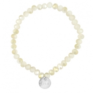 Top faceted Sisa bracelet 6x4mm (stainless steel charm) White alabaster-light gold diamond coating