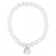 Top faceted Sisa bracelet 8x6mm (stainless steel charm) White opal-pearl diamond coating