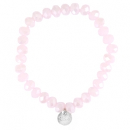Top faceted Sisa bracelet 8x6mm (stainless steel charm) Rose alabaster-pearl diamond coating