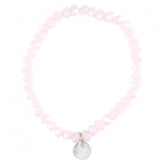 Top faceted Sisa bracelet 4x3mm (stainless steel charm) Rose alabaster-pearl diamond coating