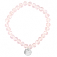 Top faceted Sisa bracelet 8x6mm (stainless steel charm) Pink champagne-pearl diamond coating