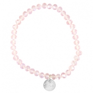 Top faceted Sisa bracelet 6x4mm (stainless steel charm) Pink champagne-pearl diamond coating