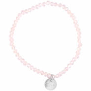 Top faceted Sisa bracelet 4x3mm (stainless steel charm) Pink champagne-pearl diamond coating